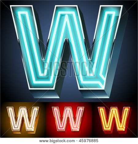 Vector illustration of realistic neon tube alphabet for light board. Gold and Silver and Red options. Letter W
