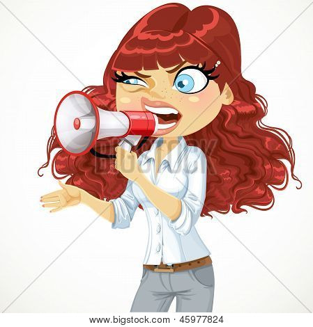 Cute curly-haired girl cries or protests through a megaphone iso