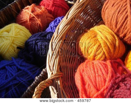 Colorful Yarn In Baskets.