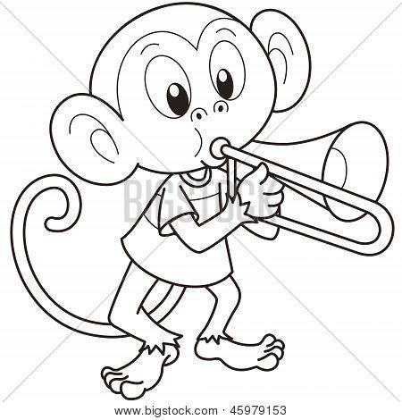 卡通猴子吹长号