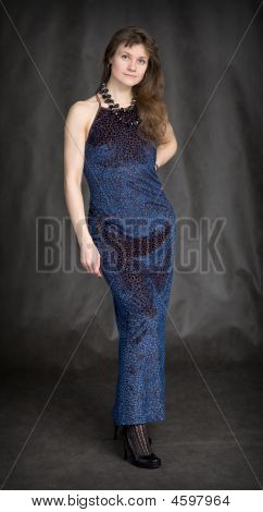 The Girl In A Dark Blue Evening Dress