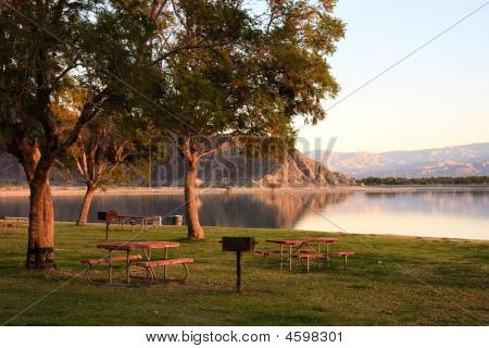 Lake In Park At Dawn