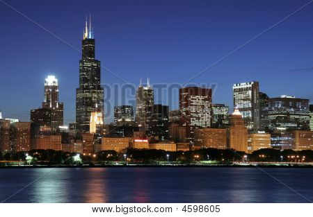 Skyline de Chicago à noite