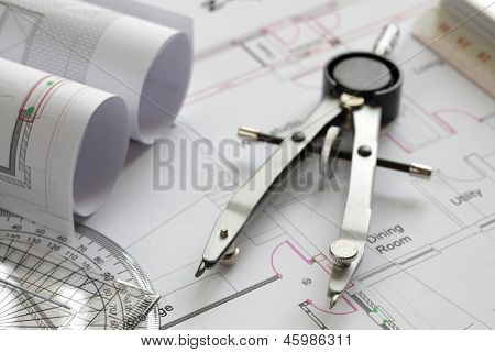 Blueprints and drawing tools concept for construction or development