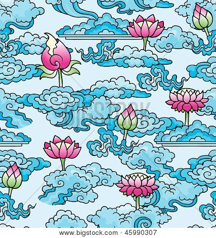 Seamless Lotus Flowers And Clouds