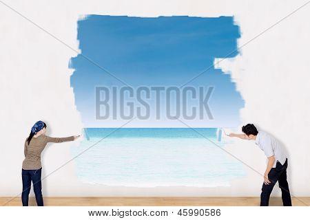 Couple Painting Beach Landscape