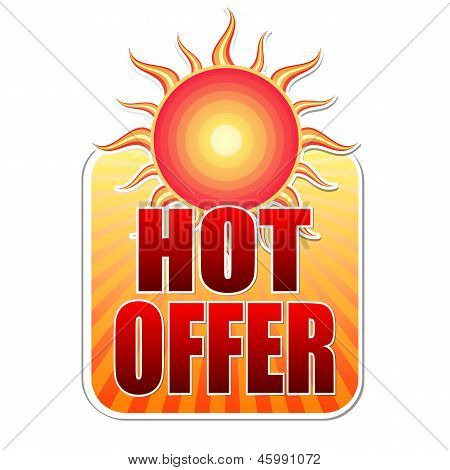 Summer Hot Offer In Label With Sun
