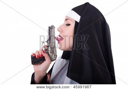 Nun with gun isolated on the white