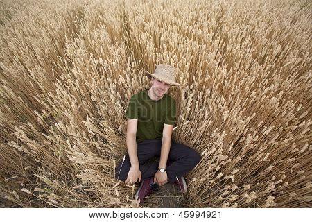 Country Boy In Wheat Field