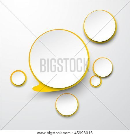 Vector illustration of white and yellow paper round speech bubble. Eps10.