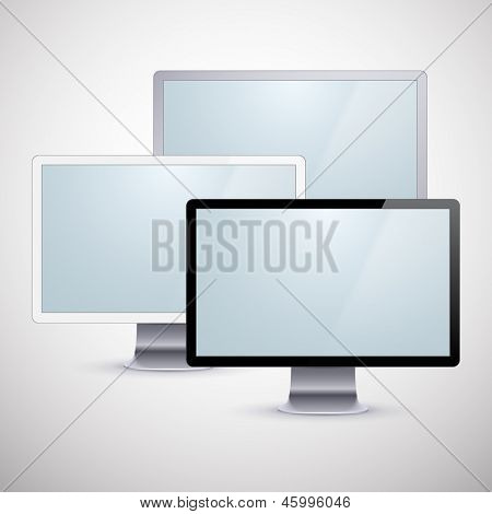 Vector illustration of high-detailed modern PC monitors. Eps10.