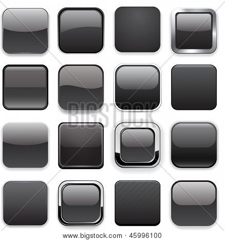 Set of blank black square buttons for website or app. Vector eps10.