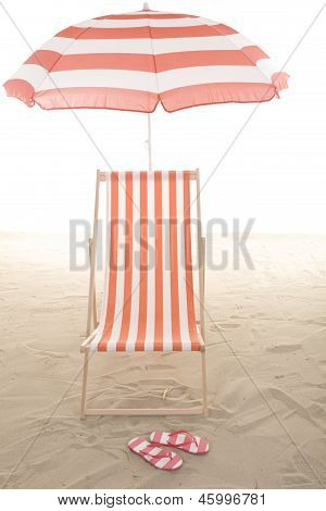 Beach Chair In The Sand