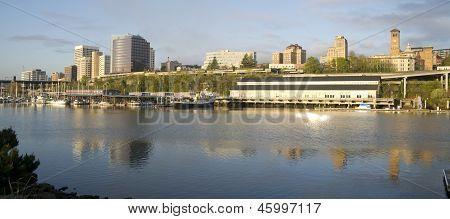 Thea Foss Waterway Waterfront Ridge Of Buildings Downtown Tacoma Washington