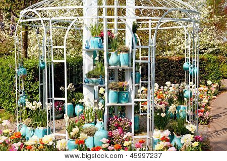 Garden House Arbor  With Pots And Flowers