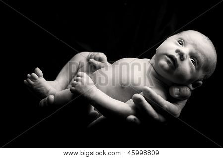 Newborn baby hold on father's hands.