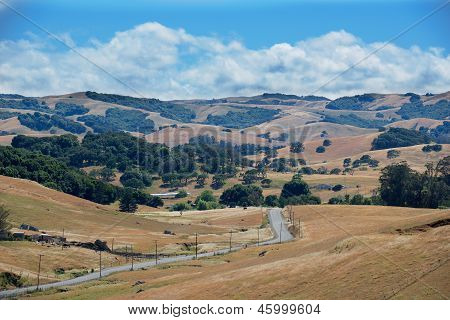 Road Travels Across Rurual California Landscape