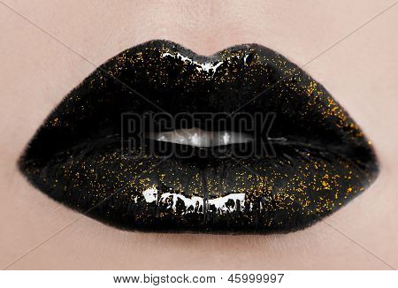close-up of beautiful womanish lips