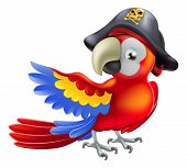 stock photo of pirate hat  - A red parrot cartoon wearing a pirates hat and eye patch and pointing with his or her wing - JPG