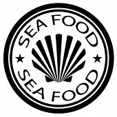 vector sea food shell stamp