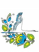 picture of shadoof  - hand drawn vector illustration in Ukrainian folk style - JPG