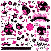 picture of skull crossbones  - large set of wild girlish cute skulls and other elements - JPG