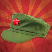 stock photo of zedong  - chinese red star cap with red ray vintage background style use for multipurpose - JPG