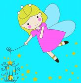 stock photo of tinkerbell  - Vector illustration of a cartoon fairy and star - JPG