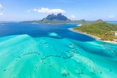 stock photo of helicopter  - view from helicopter at mount otemanu at bora bora island french polynesia - JPG