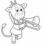 Cartoon Giraffe Playing A Trombone
