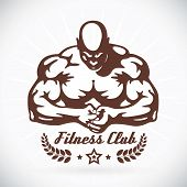 stock photo of muscle builder  - Vector Bodybuilder Fitness Model Illustration With Brown Sticker - JPG