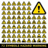stock photo of hazard symbol  - 72 symbols triangular warning hazard - JPG