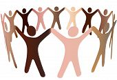 image of joining hands  - Human skin tones join hands and blend together in a ring of diverse multicultural people - JPG