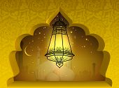 picture of ramadan mubarak card  - Illuminated Arabic lantern in moonlight night background - JPG