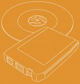 picture of 8-track  - Vector line art illustration of a retro 8 - JPG