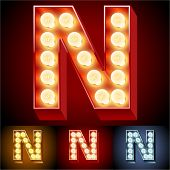 image of letter n  - Vector illustration of realistic old lamp alphabet for light board - JPG