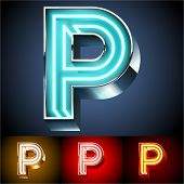 picture of letter p  - Vector illustration of realistic neon tube alphabet for light board - JPG