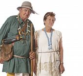 Happy Couple Dressed In Historic Costumes poster