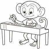 picture of organist  - Cartoon monkey playing an electronic organ - JPG