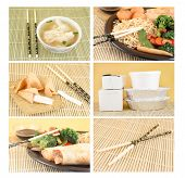 image of wanton  - collage of different Asian food dishes for takeout like wanton soup noodles egg rolls fortune cookies and chopsticks - JPG