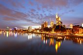 stock photo of frankfurt am main  - Panorama of Frankfurt am Mine at night - JPG