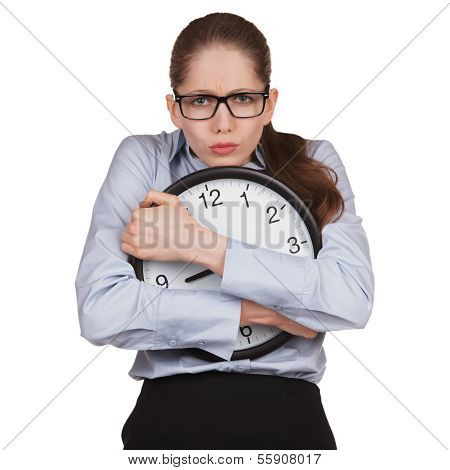 Sad Woman With Clock In Hands