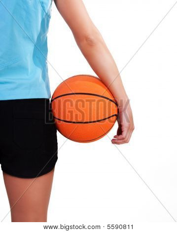 Young Beautiful Female Basket Ball Player, Training