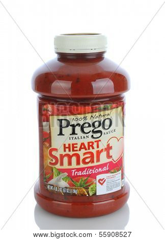 IRVINE, CA - JANUARY 11, 2013: A 67 oz. bottle of  Prego Traditional Italian Sauce. A trade mark brand name pasta sauce of Campbell Soup Company, was introduced in 1981.