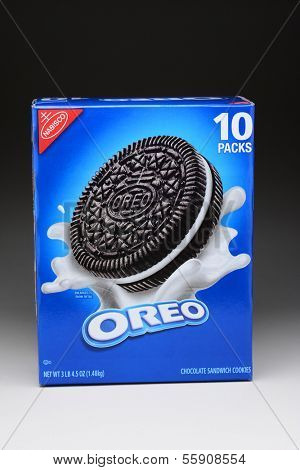 IRVINE, CA - JANUARY 11, 2013: A 3 lb box of Nabisco Oreo Chocolate Sandwich Cookies. Introduced in 1912 Oreo has become the best selling cookie in the United States.