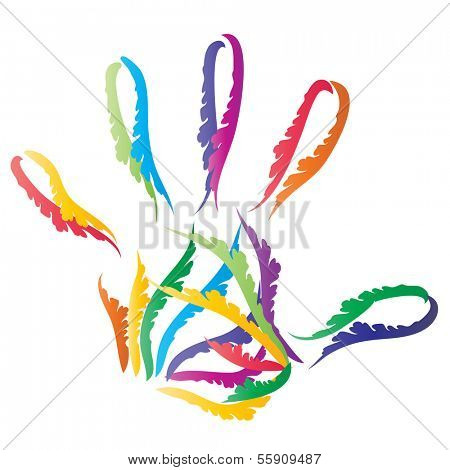 Concept or conceptual abstract human child or kid hand print made of ornament colorful lines isolated on white background