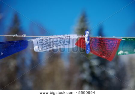 Tibetan Flags With Clothes Peg