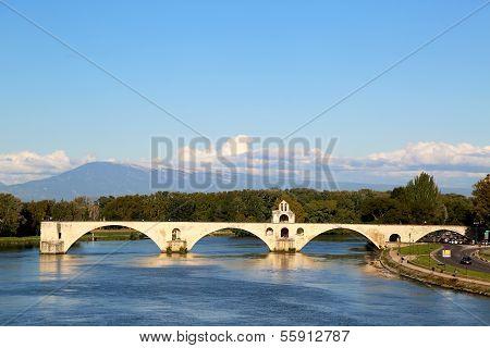 The famous medieval bridge Pont Saint-Benezet in Avignon, France