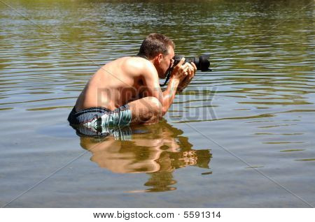 Fotógrafo profesional reflejada