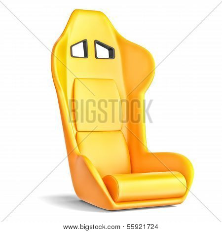 Sport Driver Leather Seat Isolated On White Background